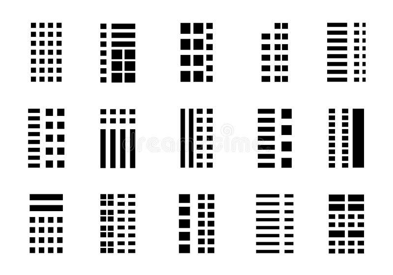 Icônes établissant la société réglée sur le fond blanc, ligne noire collection de vecteur, illustration d'isolement de bureau d'a illustration de vecteur