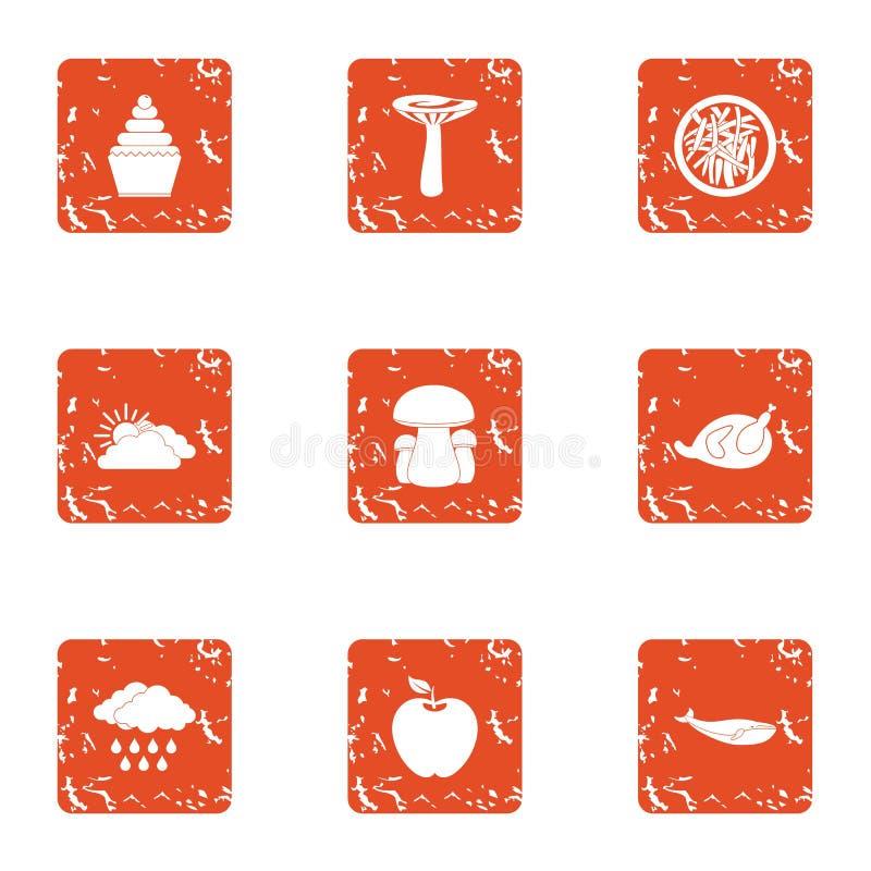 Icônes étranges de pudding réglées, style grunge illustration stock