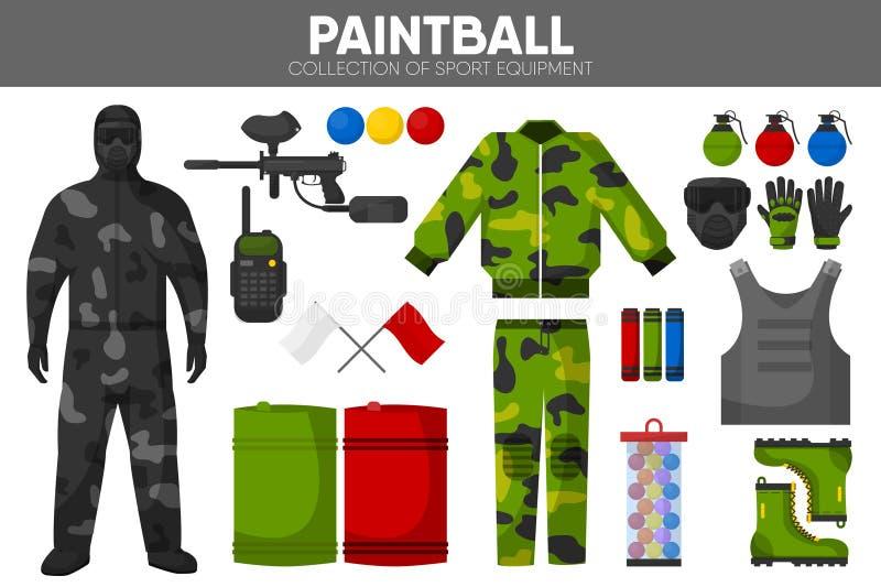 Icônes accessoires de vecteur de vêtement de joueurs d'équipe d'équipement de sport de jeu de Paintball réglées illustration stock