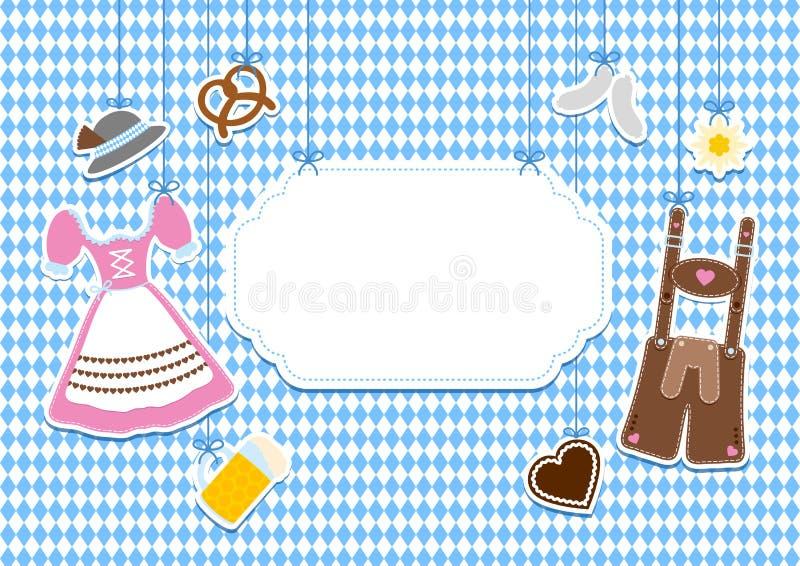 Icônes accrochantes d'Octoberfest de label de Horiziontal et modèle droit bleus et blancs illustration libre de droits