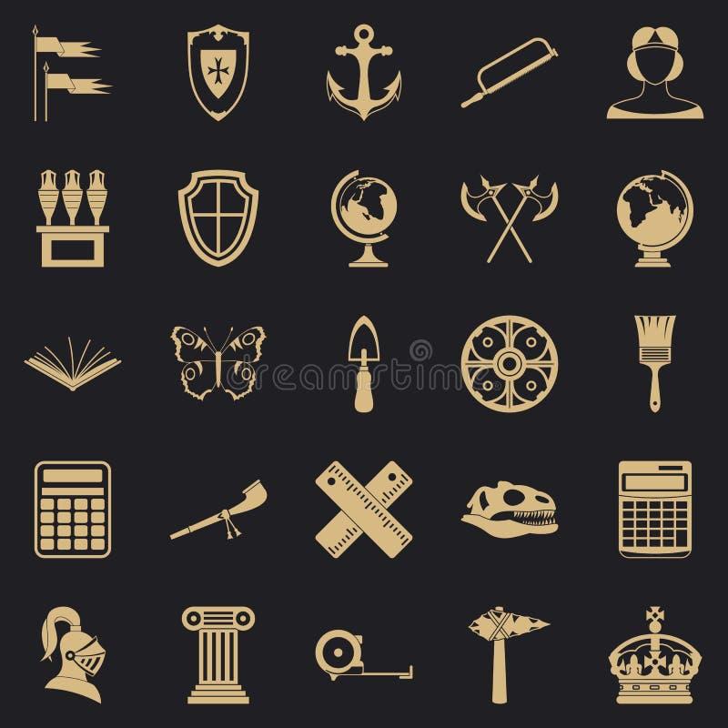 Icônes antiques du monde réglées, style simple illustration libre de droits