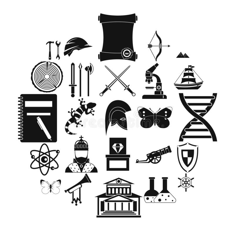 Icônes antiques réglées, style simple illustration de vecteur