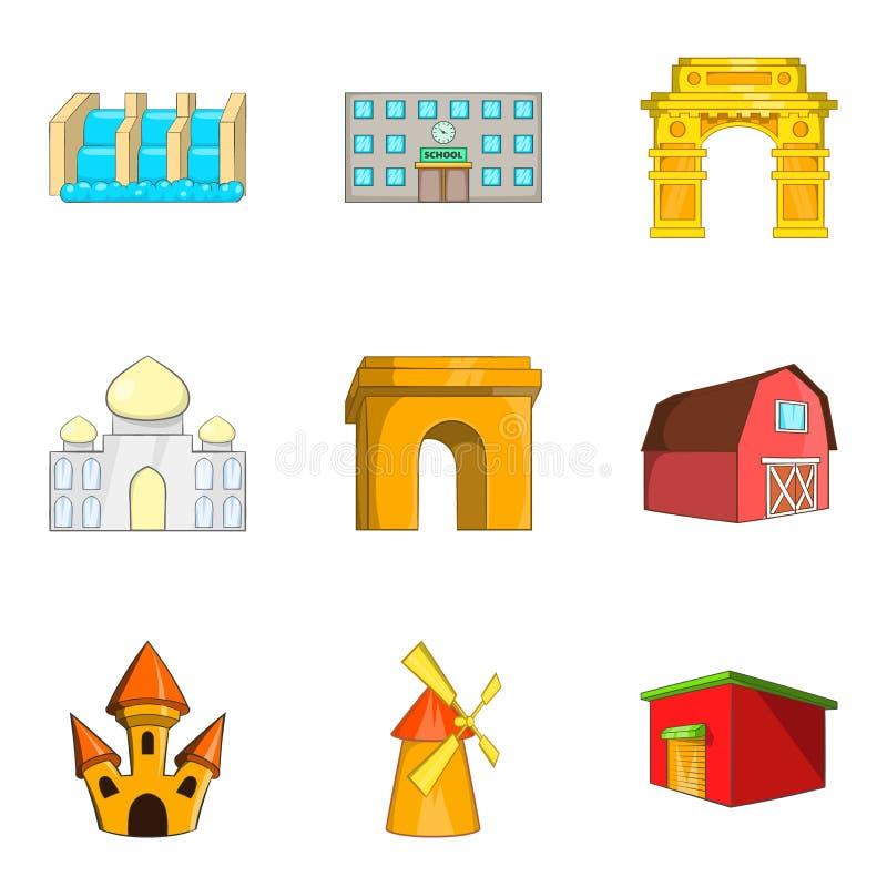 Icônes architecturales de beauté réglées, style de bande dessinée illustration libre de droits