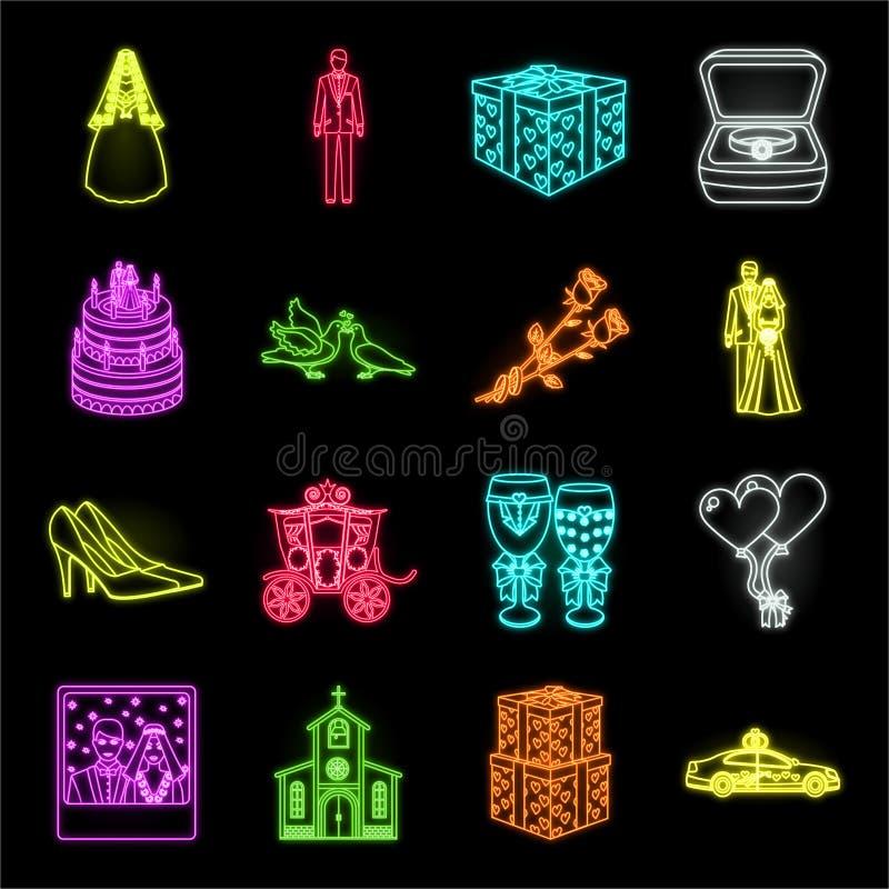 Icônes au néon de mariage et d'attributs dans la collection réglée pour la conception Web d'actions de symbole de vecteur de nouv illustration libre de droits