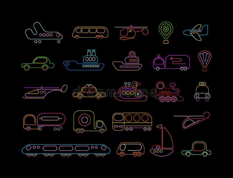 Icônes au néon de vecteur de transport illustration libre de droits