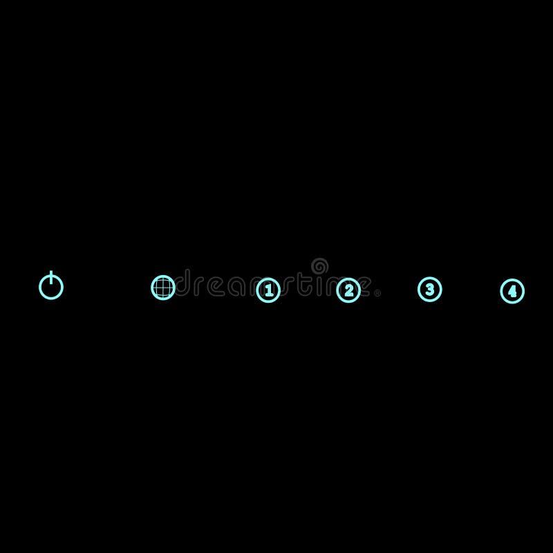 Icônes au néon, graphiques de vecteur d'isolement illustration stock