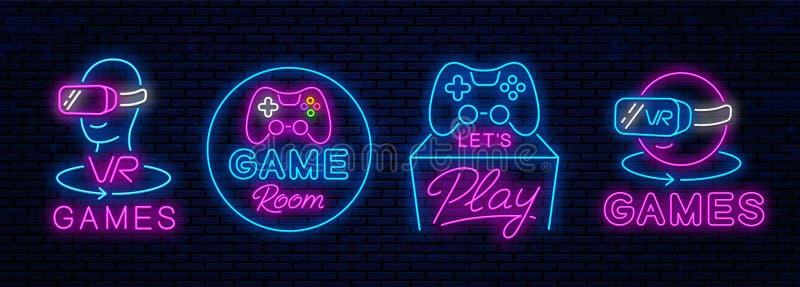 Icônes au néon pour la décoration dans des clubs de jeu illustration libre de droits
