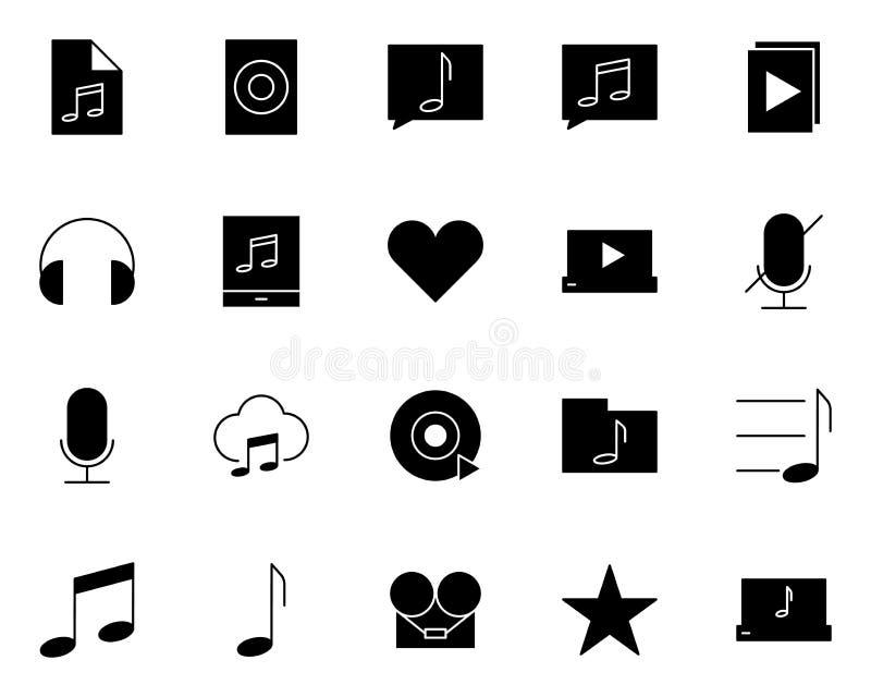 Icônes audio de silhouette de musique réglées Pictogrammes de vecteur illustration stock