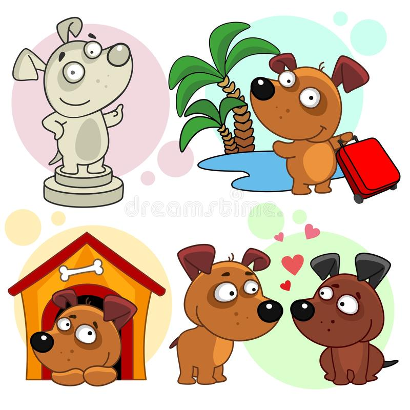 Icônes avec la partie 21 de chiens illustration de vecteur