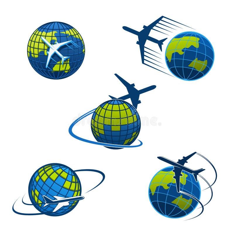 Icônes avion de vecteur d'agence de voyages et globe du monde illustration stock