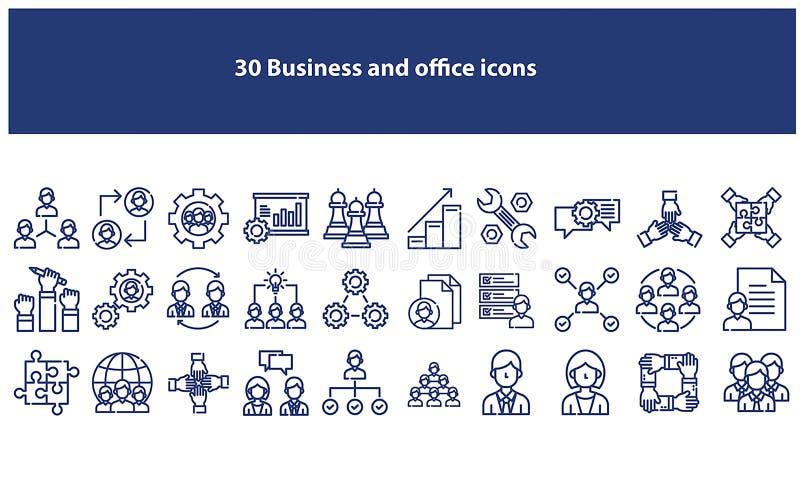 Icônes bleu-foncé d'affaires et de bureau de vecteur illustration de vecteur