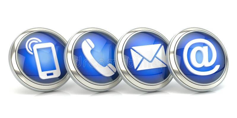 Icônes bleues de contact, illustration 3D illustration stock