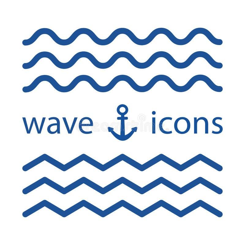 Icônes bleues de vague Illustration de vecteur illustration stock