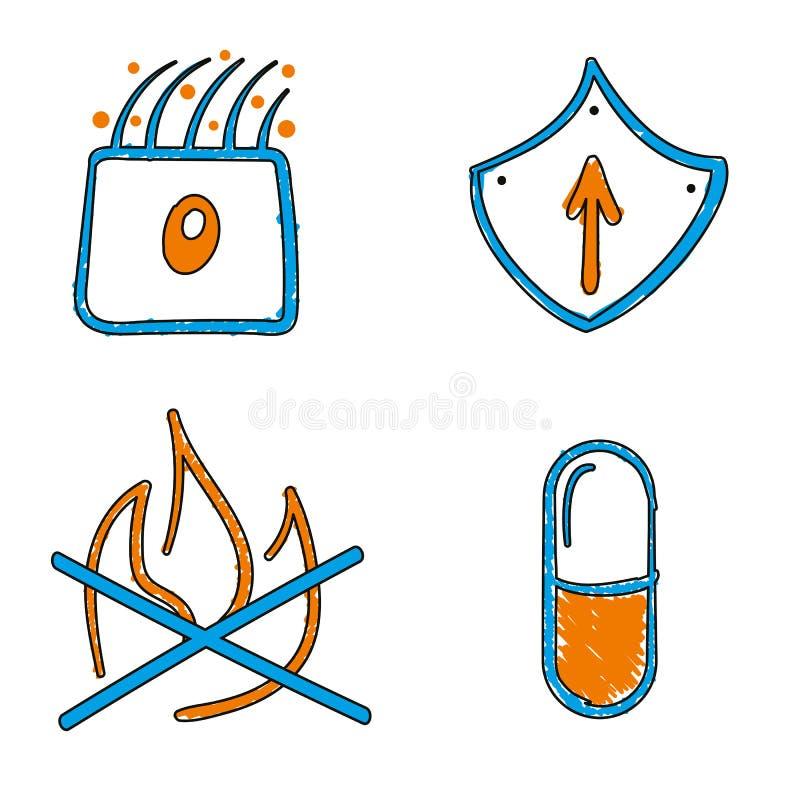 Icônes bleues et oranges de vecteur médical tiré par la main de vecteur illustration stock