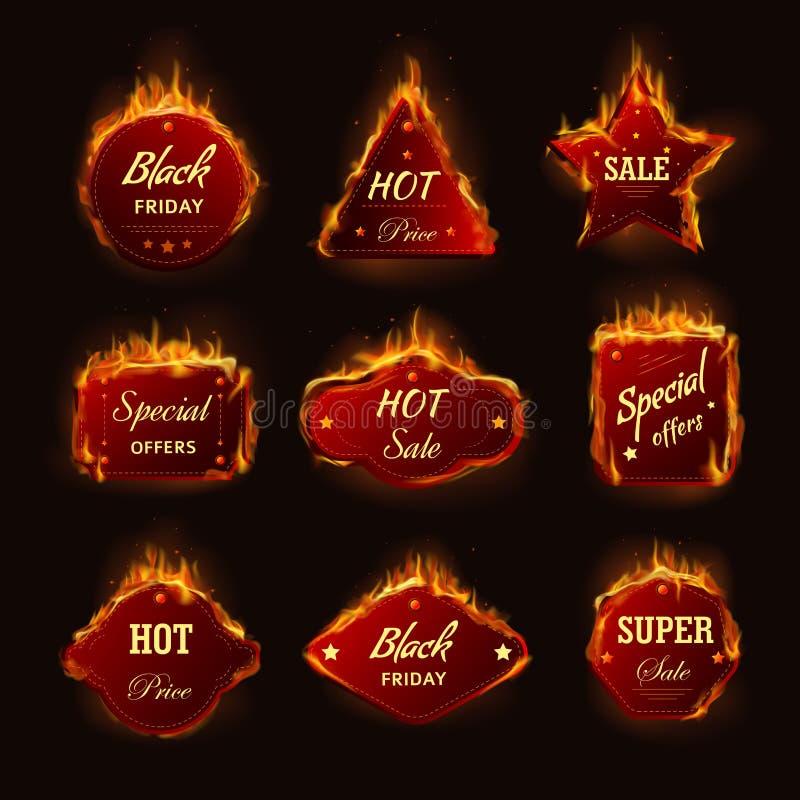Icônes brûlantes de vecteur d'offre de promo de remise de boutique de vendredi de noir de flamme du feu de vente chaude illustration stock