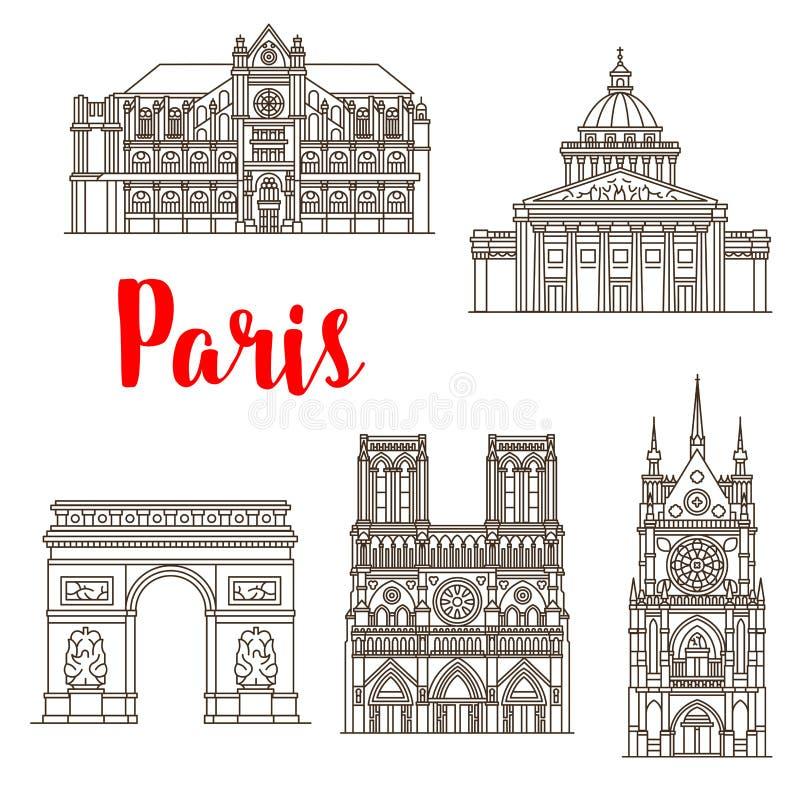 Icônes célèbres de bâtiments de vecteur de points de repère de Paris illustration de vecteur