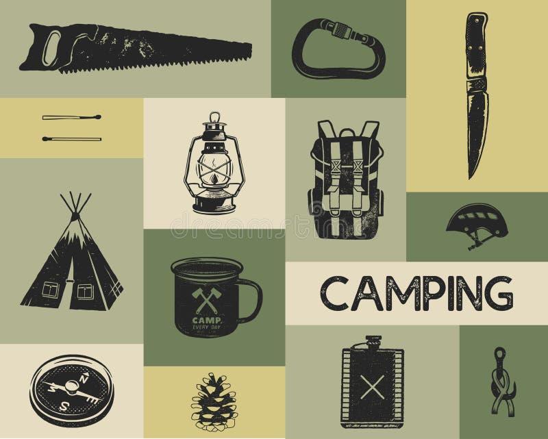 Icônes campantes réglées dans le rétro style de silhouette Symboles monochromes de voyage, augmentant les formes avec la tente, l illustration libre de droits