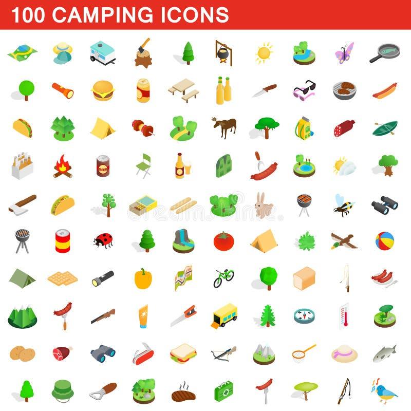 100 icônes campantes réglées, style 3d isométrique illustration libre de droits