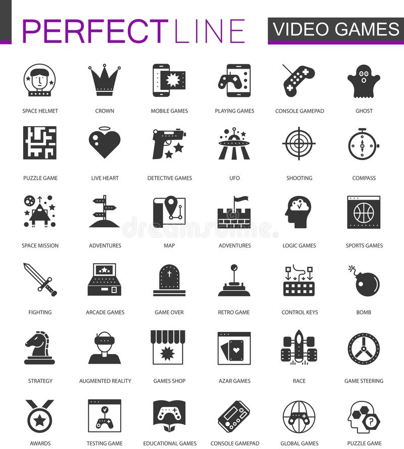 Icônes classiques noires de jeux vidéo réglées illustration stock