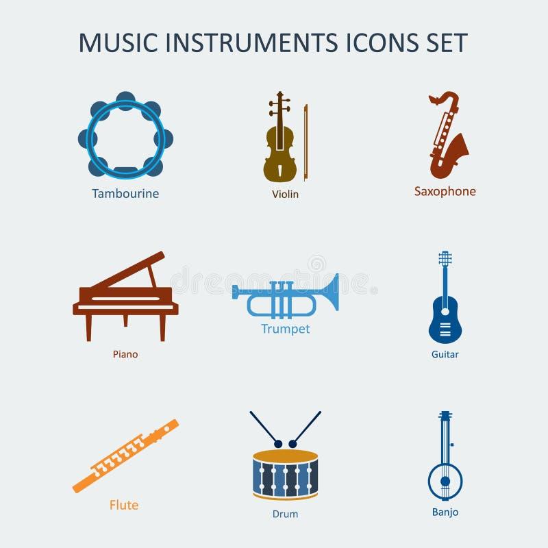 Icônes colorées d'instruments de musique réglées Vecteur illustration libre de droits