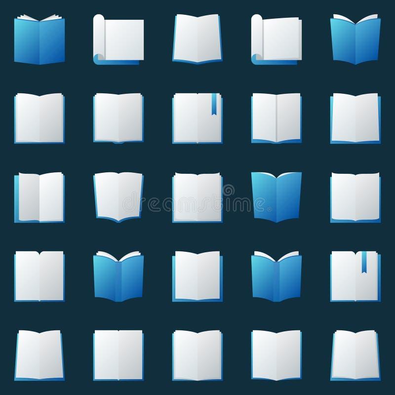 Icônes colorées de livres réglées - éléments ouverts de logo de livre de vecteur illustration stock