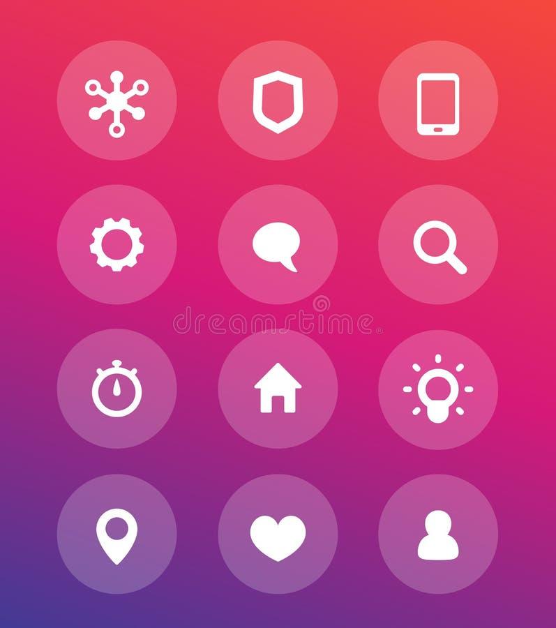 Icônes, communication et technologie de base de Web illustration stock