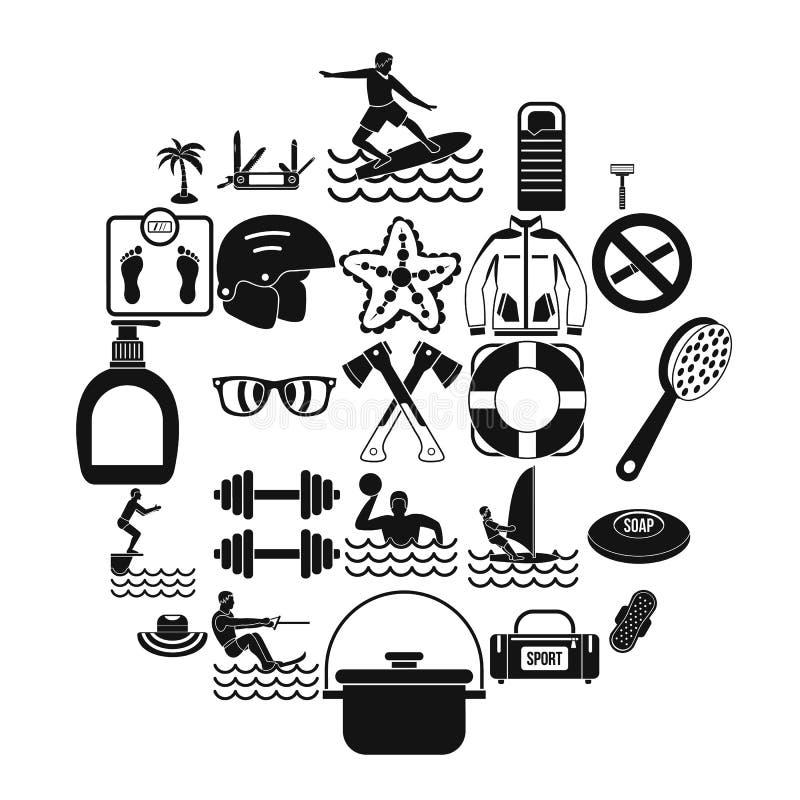 Icônes curatives réglées, style simple illustration libre de droits