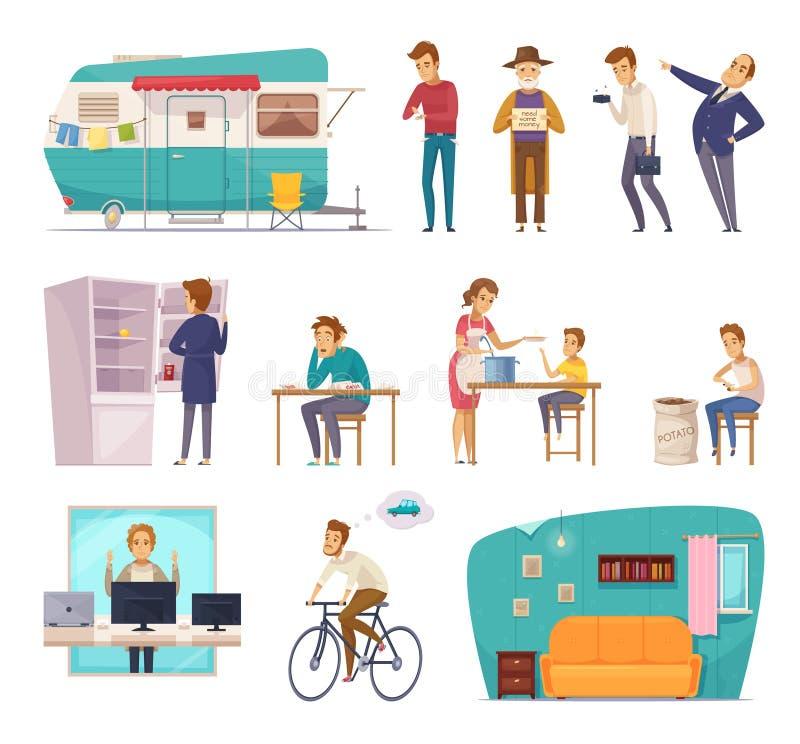 Icônes décoratives de classes sociales de personnes illustration libre de droits