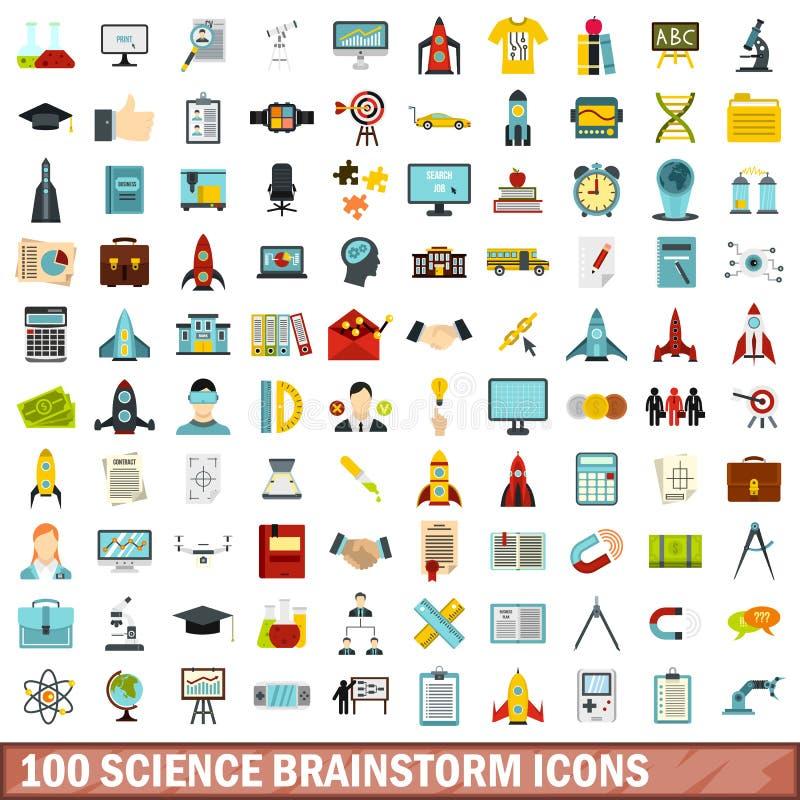 100 icônes d'échange d'idées de la science réglées, style plat illustration stock
