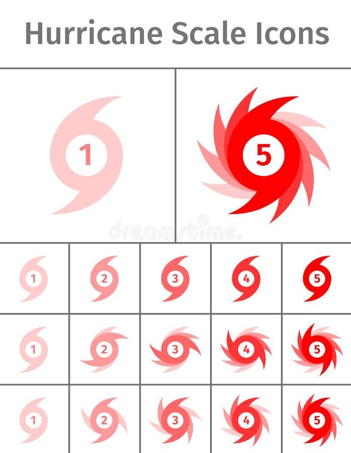 Icônes d'échelle d'ouragan illustration de vecteur