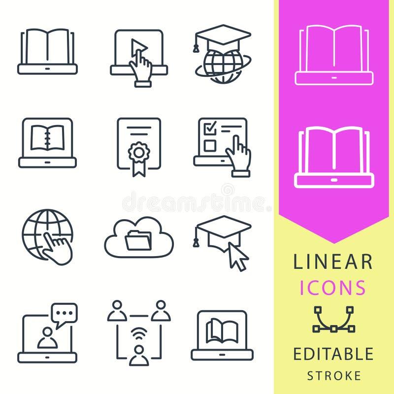 Icônes d'éducation d'apprentissage en ligne L'ensemble de chapeau d'obtention du diplôme, formation, ordinateur portable, apprenn illustration de vecteur
