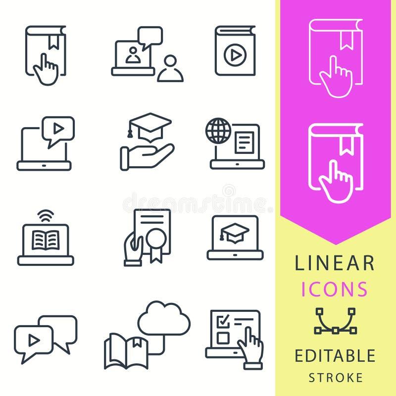 Icônes d'éducation d'apprentissage en ligne L'ensemble de chapeau d'obtention du diplôme, formation, ordinateur portable, apprenn illustration stock
