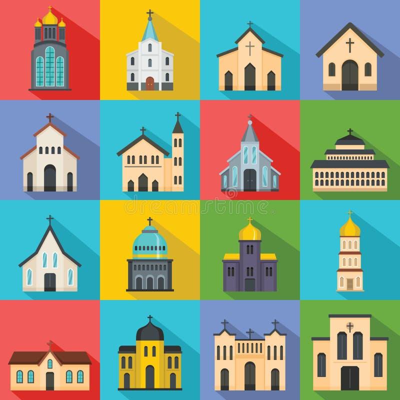 Icônes d'église réglées, style plat illustration de vecteur
