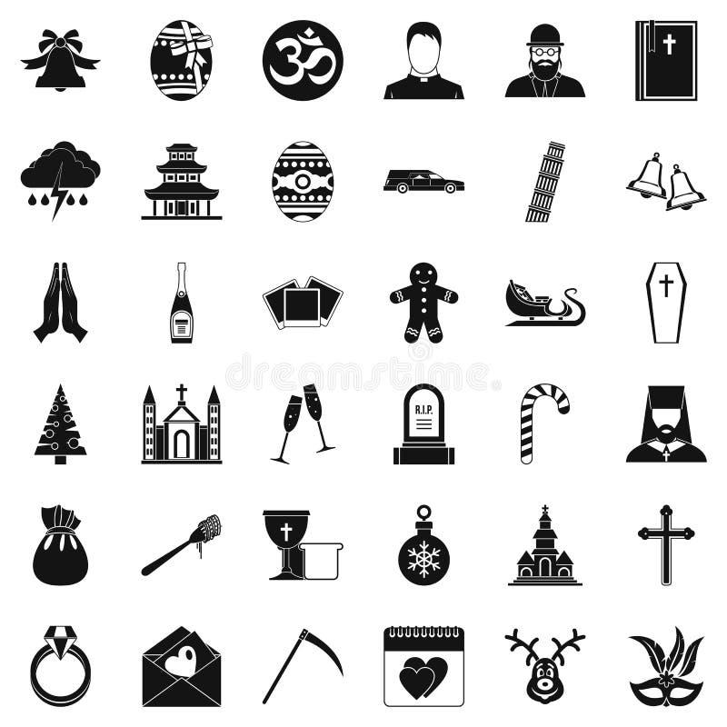 Icônes d'église réglées, style simple illustration libre de droits