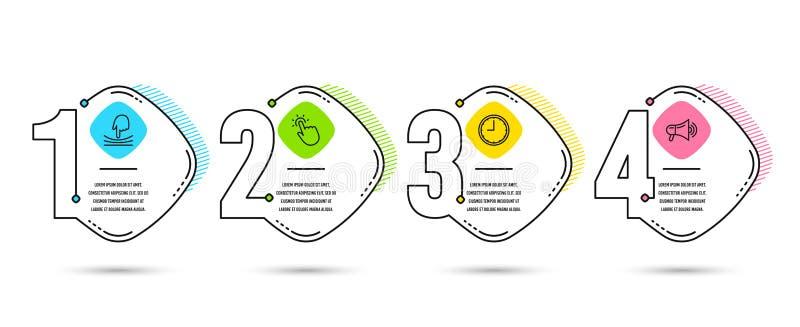 Icônes d'élastique, de Touchpoint et de temps Signe de mégaphone Résilience, technologie de contact, horloge de bureau Publicité  illustration stock