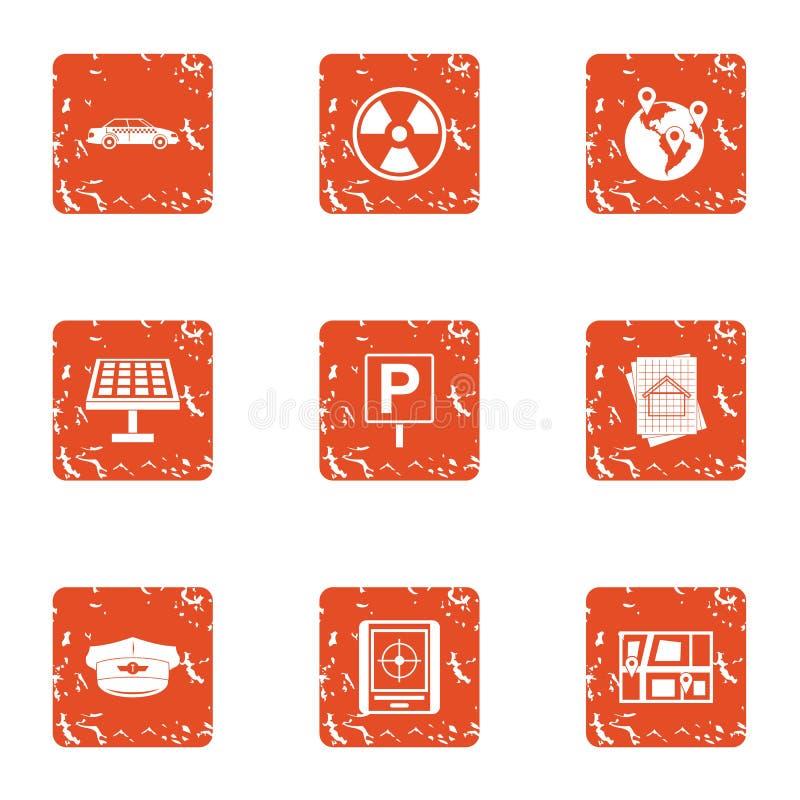 Icônes d'énergie calorifique réglées, style grunge illustration stock