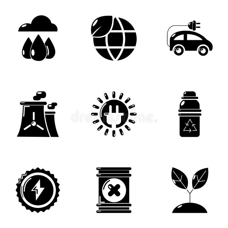 Icônes d'énergie mondiale réglées, style simple illustration de vecteur