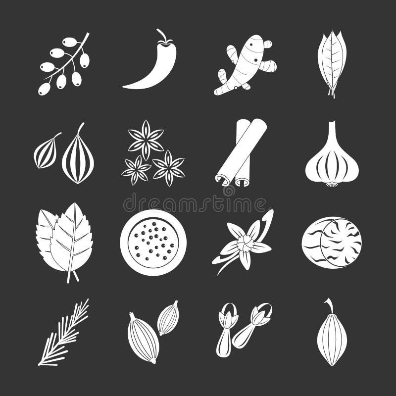 Icônes d'épice réglées grises illustration de vecteur