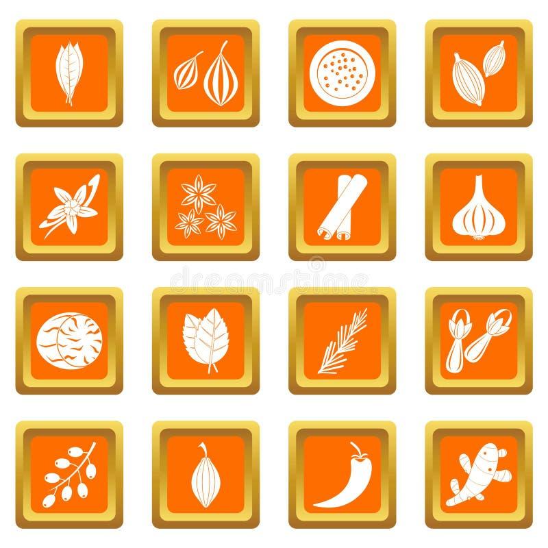 Icônes d'épice réglées oranges illustration libre de droits