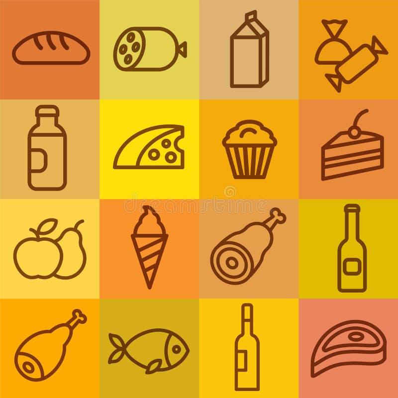 Icônes d'épicerie de nourriture illustration de vecteur