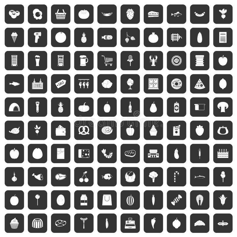 100 icônes d'épicerie réglées noires illustration de vecteur