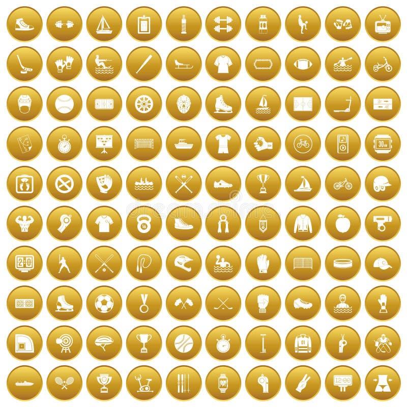 100 icônes d'équipe de sport ont placé l'or illustration de vecteur