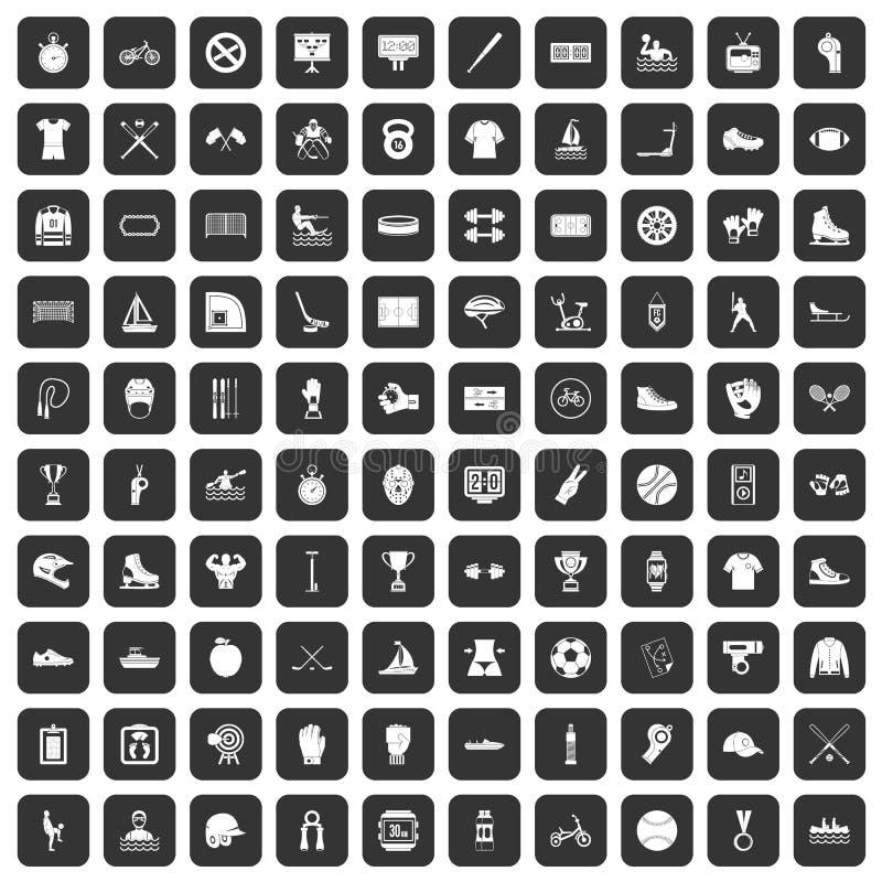 100 icônes d'équipe de sport réglées noires illustration libre de droits