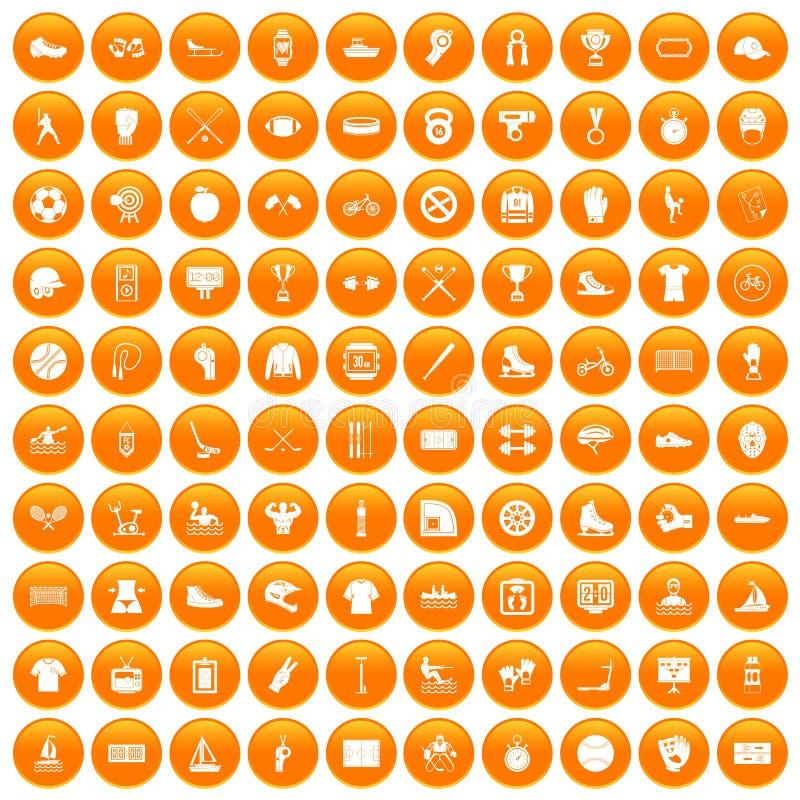 100 icônes d'équipe de sport réglées oranges illustration stock