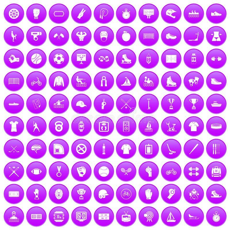 100 icônes d'équipe de sport réglées pourpres illustration stock