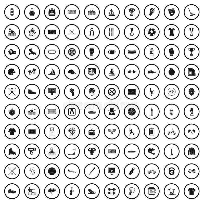 100 icônes d'équipe de sport réglées, style simple illustration de vecteur