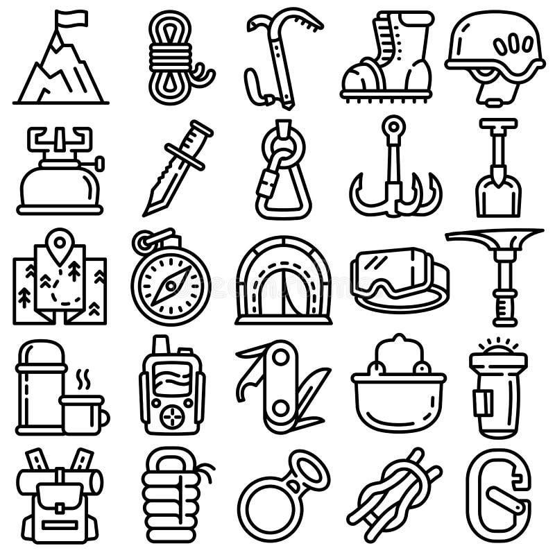 Icônes d'équipement d'alpinisme réglées, style d'ensemble illustration libre de droits