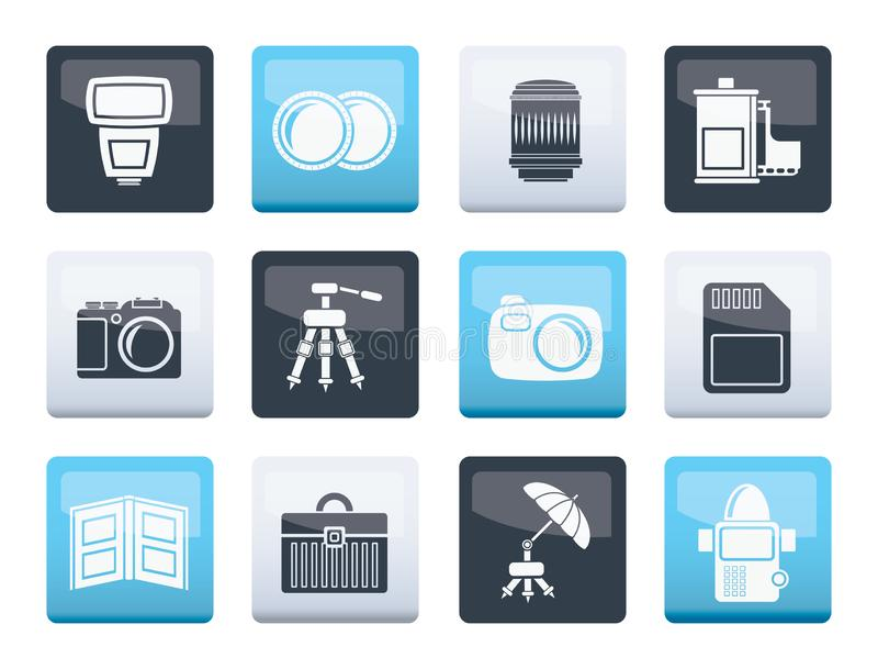 Icônes d'équipement de photographie au-dessus de fond de couleur illustration de vecteur