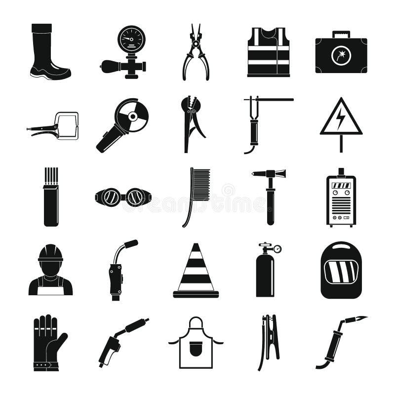 Icônes d'équipement de soudeuse réglées, style simple illustration de vecteur