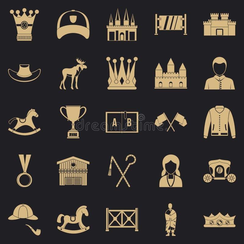 Icônes d'équitation réglées, style simple illustration libre de droits